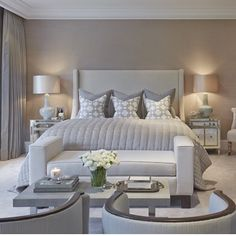 The Chic Technique:  Celebrating 1.6 million followers with this most liked photo so far! Beautifully designed by @sophiepatersoninteriors Grey Bedroom Design, Bedroom Design Inspiration, Bedroom Designs, Modern Master Bedroom, Bedroom Ideas, Design Ideas, Home Decor Bedroom, Cosy Bedroom, Headboard Ideas