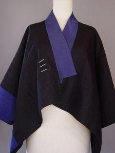 Juanita Girardin - Princess LIne Lapel Vest in Black with 3 Silk Accent Stripes