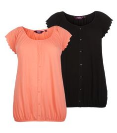 Inspire 2 Pack Coral and Black Frill Sleeve Gypsy Tops