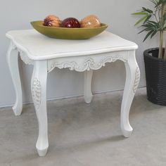 Windsor Antique White Hand Carved End Table