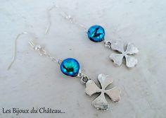 ★Boucles d'oreilles pendantes argent avec verre fondu vert émeraude : Boucles d'oreille par les-bijoux-du-chateau