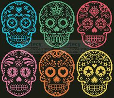 Mexican Sugar Skulls cross stitch pattern.