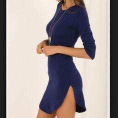 Navy T Shirt Dress Navy 3/4 sleeve t shirt hem dress. NWOT! Dresses Mini
