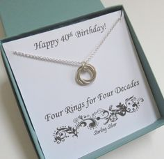 40th Birthday Gift For Women Sterling Silver Her 4 Circles Love
