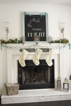 House of Turquoise: Turquoise Holiday Decor--Lots of ideas for the family room Christmas Fireplace, Christmas Mantels, Christmas Love, All Things Christmas, Winter Christmas, Christmas Crafts, Christmas Decorations, Christmas Ideas, Fireplace Decorations