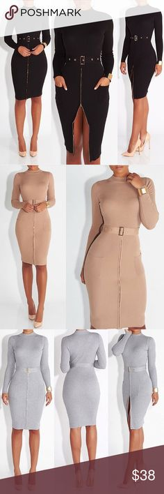Olive Belted Sweater Dress Perfect fall piece! Turtle neck sweater dress in the color olive. Comes with waist belt and features two side pockets. Never worn. Pair with nude heels and a ponytail for a sleek look! Jluxlabel Dresses Midi