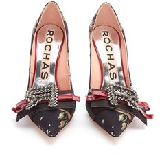Rochas Bow-embellished floral-jacquard pumps ($447) ❤ liked on Polyvore featuring shoes, pumps, evening shoes, floral print pumps, evening pumps, floral pumps and black evening shoes