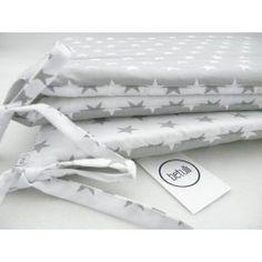 Ochraniacz do łóżeczka Biało Szary - gwiazdki