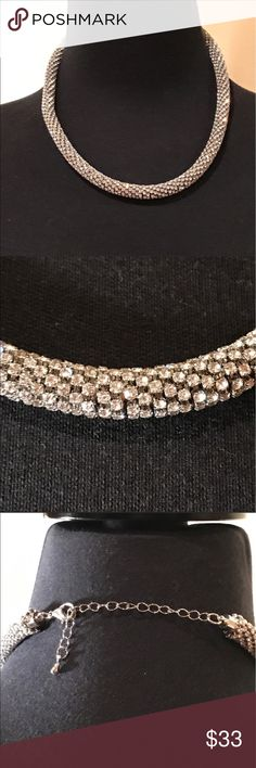 """Silver and Crystal Wrapped Necklace Silver and Crystal Wrapped Necklace Approx: 16""""+3"""" Extender Jewelry Necklaces"""