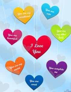 This hanging hearts love ecard features colorful hearts hanging in the sky with sweet romantic messages written on them.