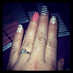 Cherry-O junior wrap paired with Black & White Skinny and Poppy & White Polka. Get yours at amandaflynn120.jamberrynails.net