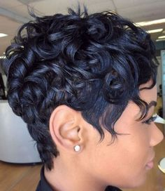 African American Curly Messy Pixie