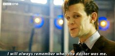 "11 great moments from ""The Time of the Doctor"" (GIFs)- but this one pictured above, during this part he looked right at the camera. He was speaking to his fandom. Reminding us that he'll never forget. Beautiful."