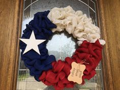American Flag Burlap Wreath, Texas Flag, Veterans Day, Memorial Day, Independence Day, Fourth of July, Patriotic Wreath, Red, White and Blue