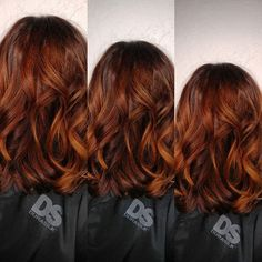 Red Balayage: Copper Balayage: Vibrant Red Balayage: Copper B . Copper Balayage, Bayalage, Hair Color Balayage, Bob Hairstyles For Fine Hair, Cool Hairstyles, Copper Hair, Copper Rose, Rose Gold, Auburn Hair