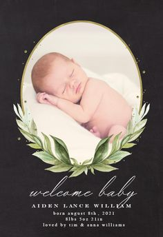 Oval frame & Laurel - Birth Announcement Card #announcements #printable #diy #template #birth #baby #birthannouncements