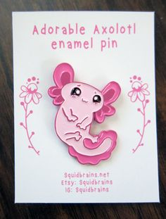 This adorable little axolotl just wants to be your friend. Show off your axoltol love with this 1.5 inch enamel pin. Take him with you wherever you