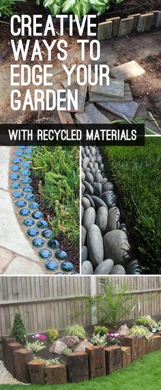 Garden Edging: Landscape Edging Ideas with Recycled Materials! • Garden edging ideas with glass, landscape edging with stone, & recycled wood garden edging ideas. Check out this post for tons of projects and ideas! #gardenedging #landscapeedging #gardenedgingideas #landscapeedgingideas #gardenedgingprojects #DIYgardenprojects #DIYgardenideas