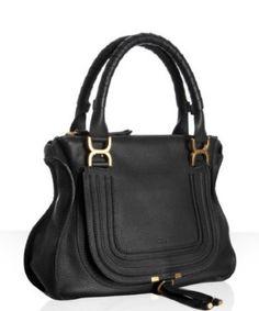 Black calfskin 'Marcie' top handle bag by #Chloe