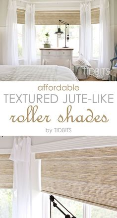 Affordable textured jute-like roller shades - as seen in TIDBITS master bedroom reveal. house window coverings Affordable Textured Jute-like Roller Shades - Tidbits Bedroom Blinds, Bedroom Windows, Living Room Windows, Living Room Blinds And Curtains, Bay Window Bedroom, Cortinas Rollers, Br House, House Wall, House Blinds