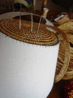 How to cover a buckram frame with straw - Belle Alley #millinery #judithm #buckram #hats