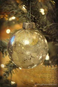 DIY Mercury Glass Ornaments {The Frugal Homemaker} #ornaments #craft #christmas