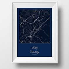 Liberty University Campus and Area Street Map in Lynchburg Virginia Modern Minimalist Art Print Office or Home Wall Decor