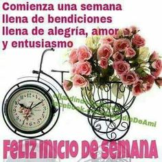 Feliz Gif, Floral Clock, Buenos Dias Quotes, Love Collage, Carpe Diem, Vintage Flowers, Alarm Clock, Bracelet Watch, Diy And Crafts