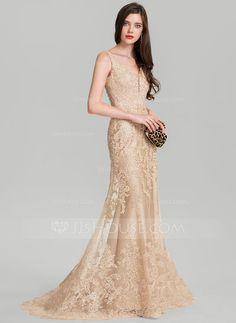 [US$ 239.99] Trumpet/Mermaid V-neck Sweep Train Tulle Evening Dress With Beading Sequins