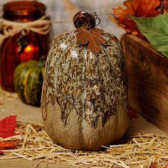 Cream Glazed Ceramic Pumpkin, 9 in.