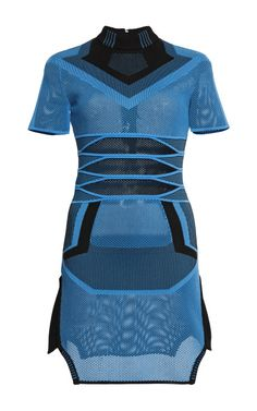 Air Force Bi Color Mesh Tee Dress With Engineered Stripes by Alexander Wang for Preorder on Moda Operandi