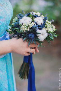 Купить Букет невесты / Свадебный букет - тёмно-синий, свадебный букет, букет невесты