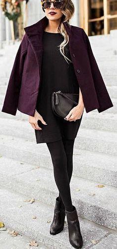 #winter #fashion / all black + burgundy blazer