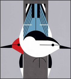 Upside Downside lithograph print by Charley Harper