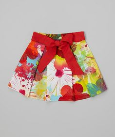 Love this Red & White Floral Circle Skirt - Infant, Toddler & Girls by Dreaming Kids on #zulily! #zulilyfinds