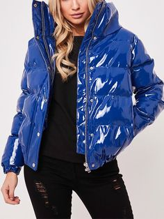 Buy 2 Items Get Off Buy 3 Items Get Off gender: Woman season: autumn,winter Collar: Standing collar Pattern type: Solid color Sleeve Length: Long sleeve Wearing occasion: Street beat Blue Puffer Jacket, Puffer Jackets, Rain Jacket, Winter Jackets, Raincoats For Women, Jackets For Women, Nylons, Vinyl Clothing, Culottes