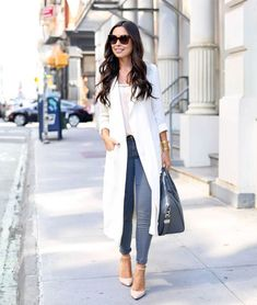 jeans with structured coat