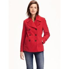Old Navy Womens Wool Blend Peacoat ($60) ❤ liked on Polyvore featuring outerwear, coats, petite, red, peacoat coat, double-breasted pea coat, red coat, fur-lined coats and red double breasted coat