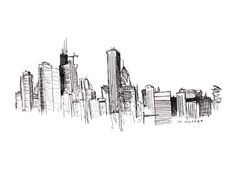 skyline tattoo abstract | Chicago Skyline Illustration
