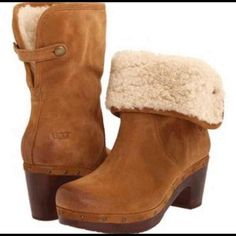 Reduced for fall! UGG Lynnea Boot in Chestnut Firm on price. Very popular & usually sold out Women's Ugg Lynnea Boot in 3204 Chestnut Suede 100% Original! Spent over $150 & only worn a few times for ONE season. I'm just not an Ugg gal. Super cute with leggings or jeggings because of the rollover part. If you see stock picture toe is supposed to actually be slightly darker.   Size 6 Women's (no longer have box) UGG Shoes Ankle Boots & Booties