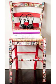 DIY proj comic strips on chair