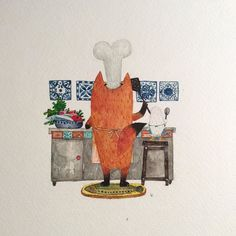 Fish lasagna #illustration #mrfox #fox #watercolor #creativebug #makeartthatsells #여우 #일러스트 by hee_cookingdiary