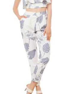 High Waisted Pockets Leaves Printed One-Button Casual Pants Women's Bottoms on buytrends.com