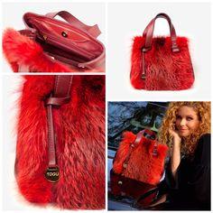 Leather bag with fox fur and leather lining Fox Fur, Bucket Bag, Leather Bag, Bags, Accessories, Fashion, Handbags, Moda, Fashion Styles