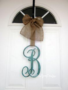 Single Letter Monogram Wooden Door Decor, Monogram Wreath 12 inches by CarolinaMoonCrafts