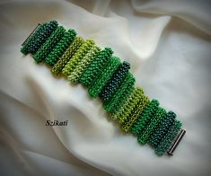 Beaded green seed bead Right Angle Weave bracelet OOAK by Szikati, $145.00