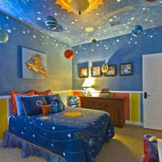 Add a galaxy with stars, sun, moon and planets in a playroom or homeschool classroom