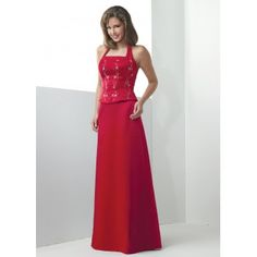 Red Satin Embroidery Long Halter Young Mother of Groom Dresses