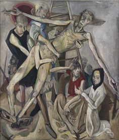 "Max Beckmann - Descent from the Cross, 1917 - This painting was made a part of Entartete Kunst, the Nazi's 1937 exhibition ""degenerate"" avant-garde art, Munich. Max Beckmann, Emil Nolde, Harlem Renaissance, Max Oppenheimer, Art Dégénéré, Ludwig Meidner, Antoine Bourdelle, George Grosz, Degenerate Art"