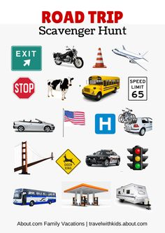 Free Printable Travel Games for Kids: Road Trip Scavenger Hunt
